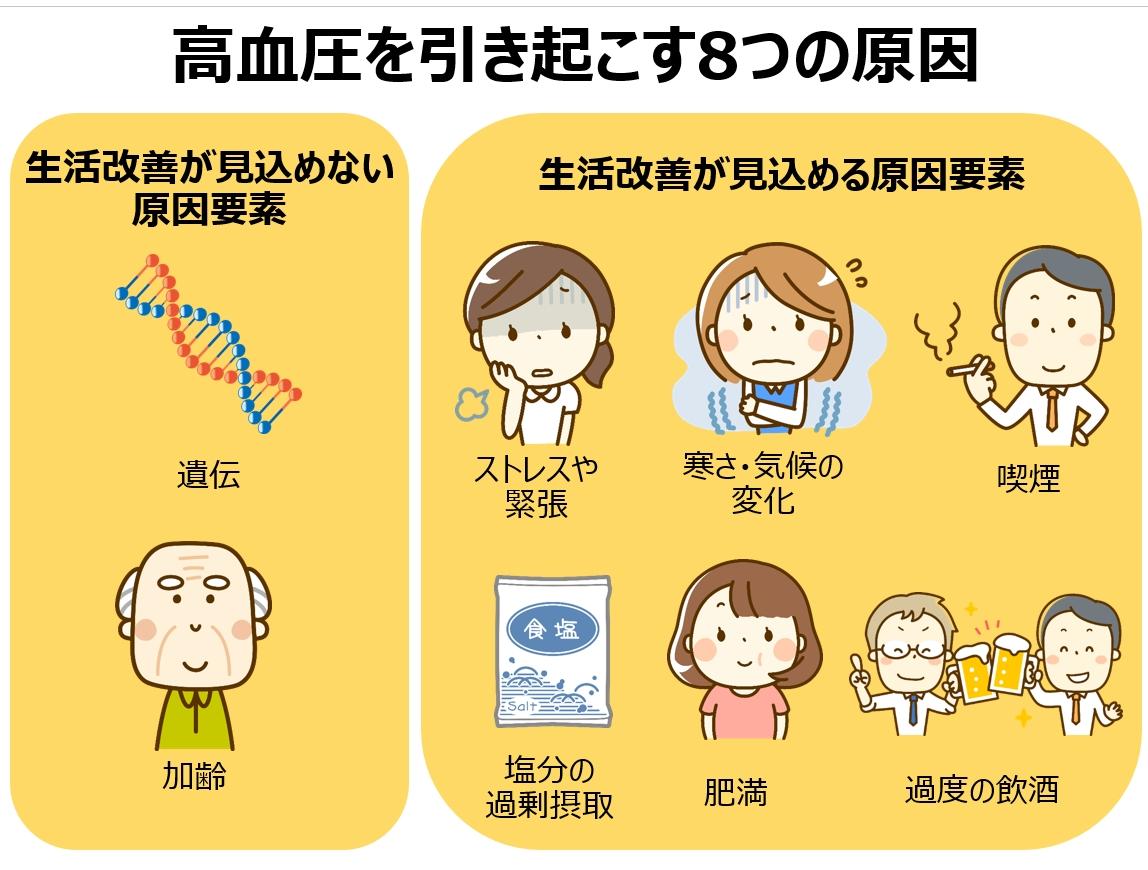 高血圧を生活改善で見込める原因要素