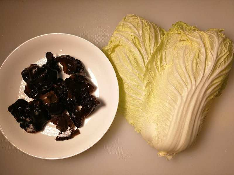白菜とキクラゲのお酢炒めの材料一覧